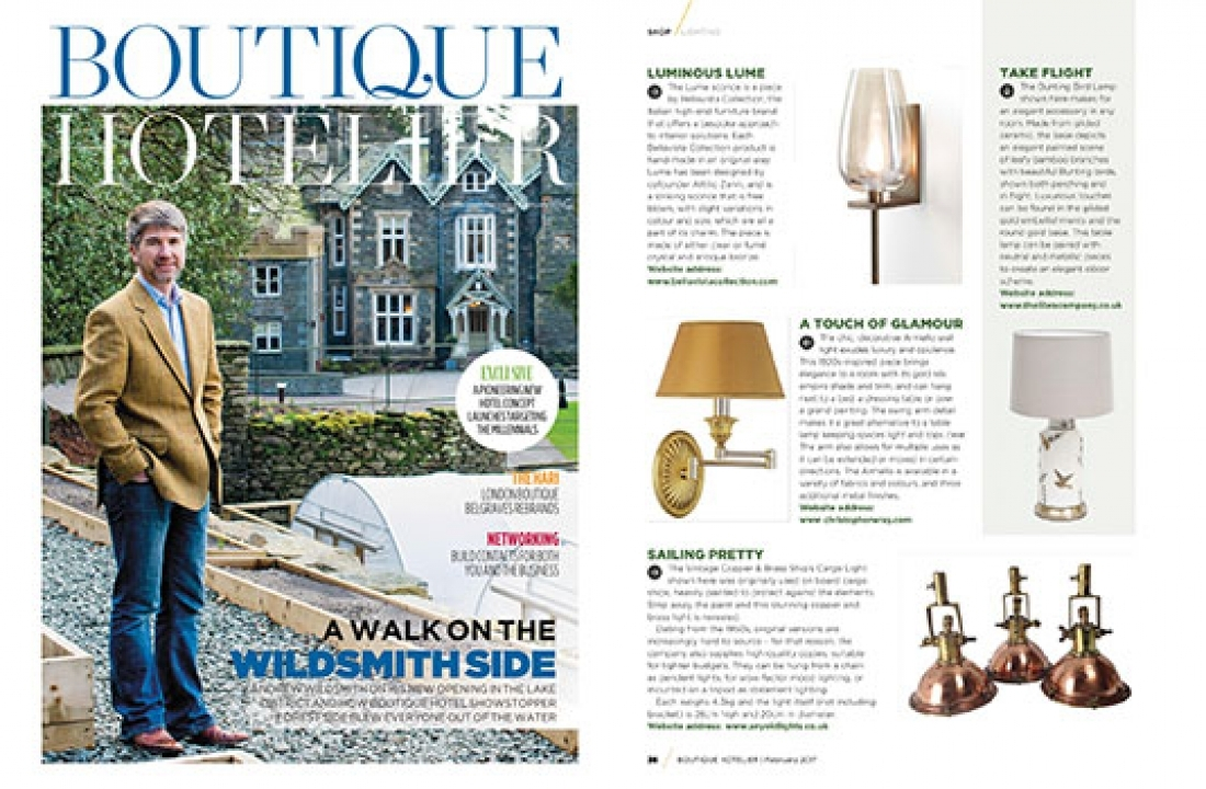 BELLAVISTA'S LUME SCONCE FEATURED IN BOUTIQUE HOTELIER // UK