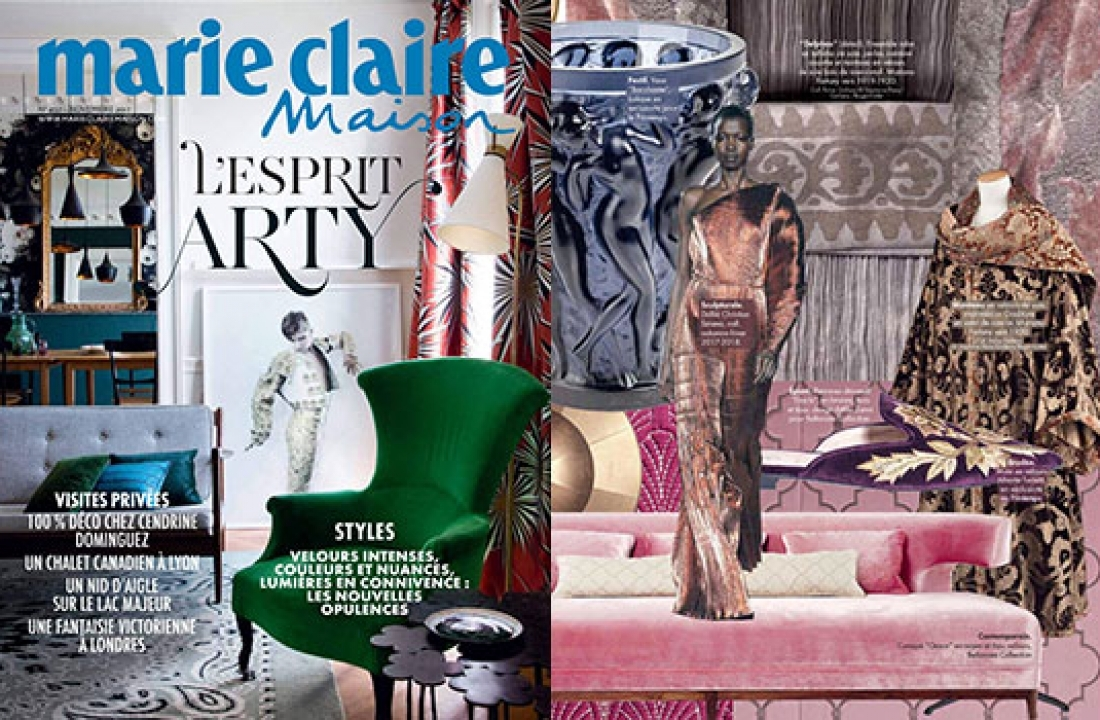 ART DECO + GRACE WOOD SOFA FEATURED IN MARIE CLAIRE MAISON // FRANCE