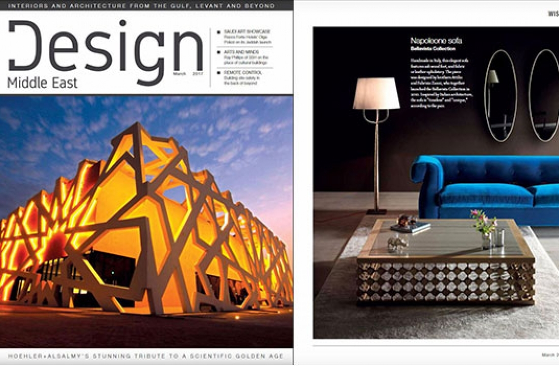 NAPOLEONE SOFA + BOUQUET BOIS FEATURED IN DESIGN MIDDLE EAST // UAE