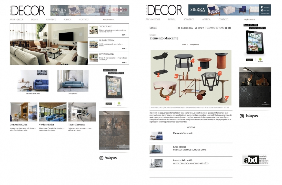 BELLAVISTA COLLECTION'S TOM COFFEE TABLE FEATURED IN REVISTA DECOR // BRASIL